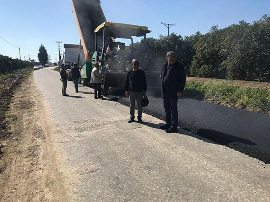 Çakış ve Hocalar yoluna sıcak asfalt