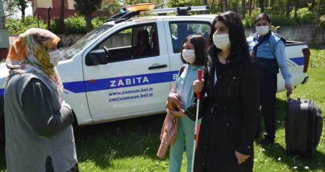 Samsun'da ailesine belediye kavuşturdu